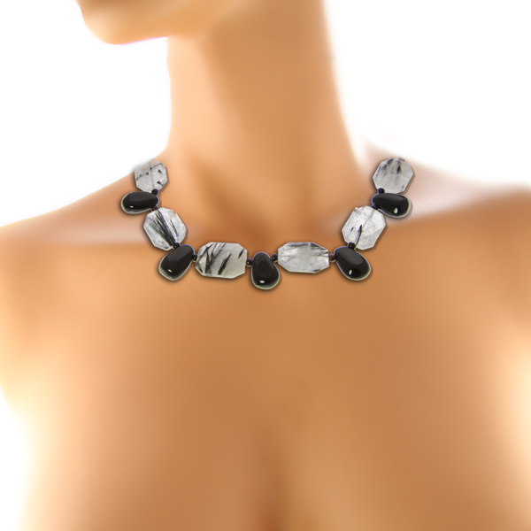 Design 20963: black,gray tourmalated quartz necklaces