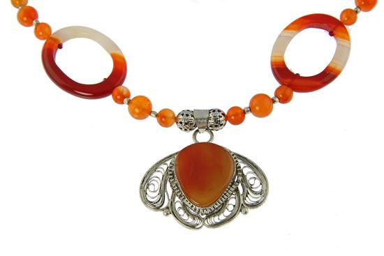 Design 21038: orange carnelian necklaces