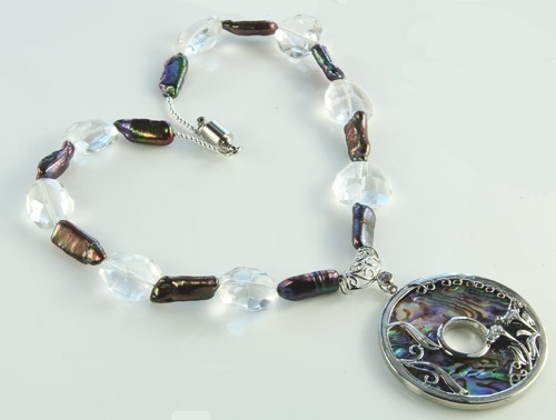 Design 21130: brown,white abalone necklaces