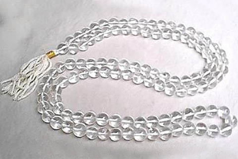 Design 214: white crystal rosary necklaces
