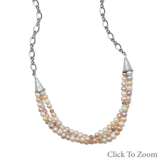 Design 22025: multi-color pearl necklaces