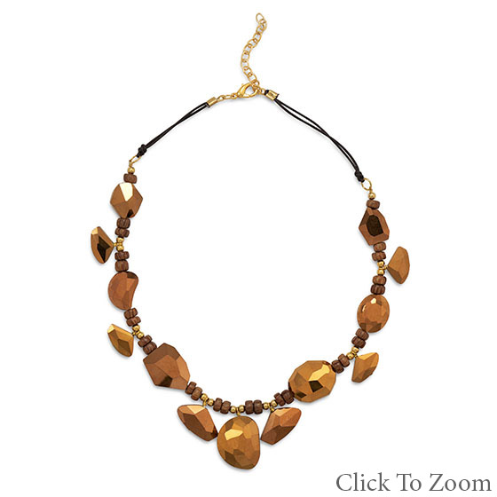 Design 22027: brown glass necklaces