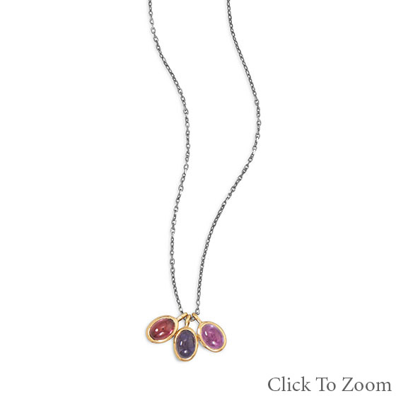Design 22033: multi-color multi-stone necklaces