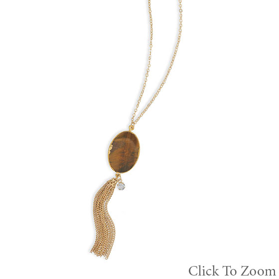 Design 22035: brown tiger eye necklaces