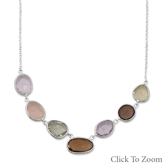 Design 22038: multi-color multi-stone necklaces