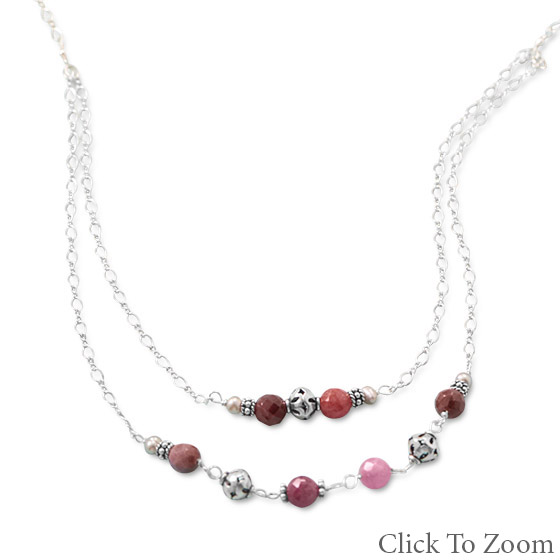 Design 22041: multi-color multi-stone necklaces