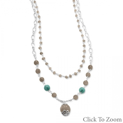 Design 22042: multi-color multi-stone necklaces
