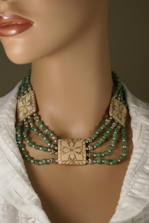 Design 232: green,yellow bone choker necklaces