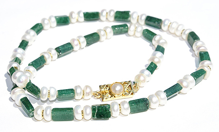 Design 237: green,white aventurine simple-strand necklaces