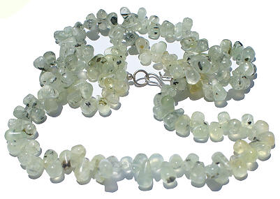 Design 264: green,white prehnite drop necklaces