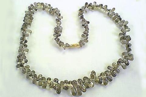 Design 267: gray smoky quartz drop, simple-strand necklaces
