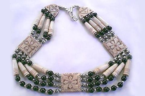 Design 283: black,white bone ethnic necklaces