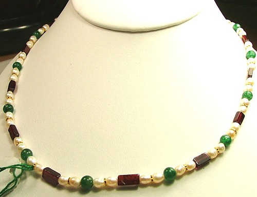 Design 291: green,red,white multi-stone simple-strand necklaces