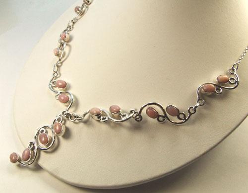 Design 3016: pink opal necklaces