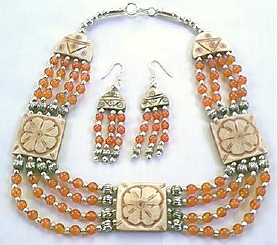 Design 303: orange,white carnelian choker necklaces
