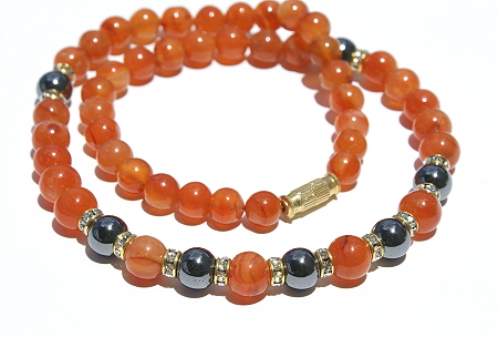 Design 3061: orange carnelian halloween necklaces