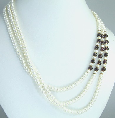 Design 312: red,white pearl multistrand necklaces