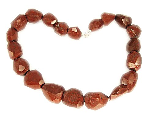 Design 3133: brown,red jasper chunky necklaces