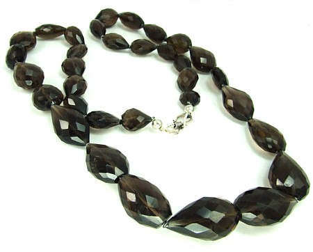 Design 3144: brown,gray smoky quartz chunky necklaces