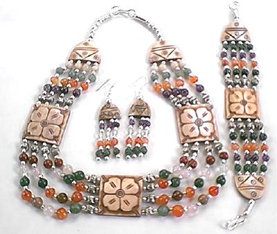 Design 382: orange,purple,multi-color multi-stone flower necklaces