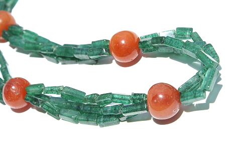 Design 417: green,orange aventurine necklaces