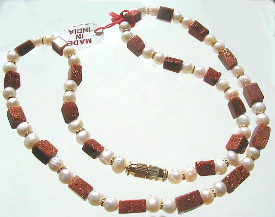 Design 440: brown,red,white goldstone necklaces