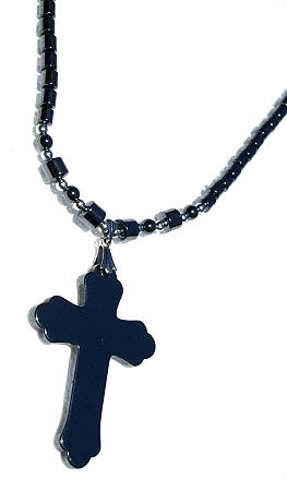Design 457: black hematite christian, crosses, gothic-medieval, religious necklaces