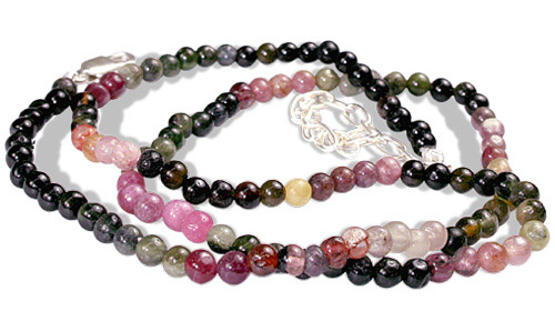 Design 461: multi-color tourmaline childrens, simple-strand necklaces