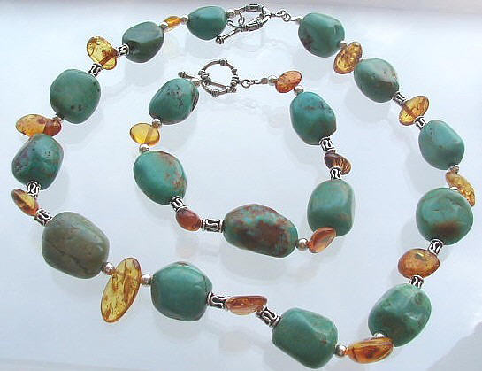 Design 475: blue,orange turquoise chunky necklaces