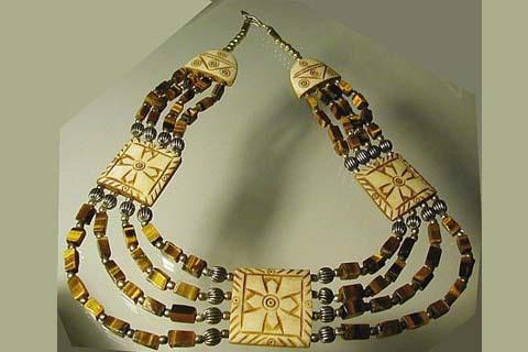 Design 480: brown tiger eye cross necklaces