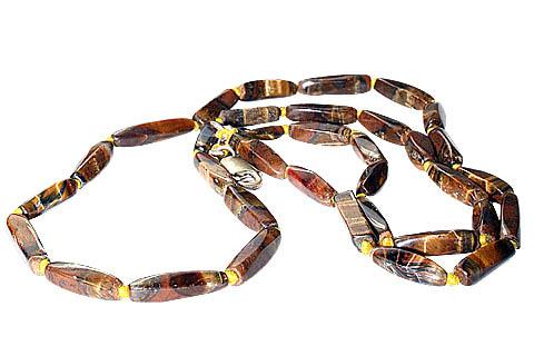 Design 483: brown tiger eye simple-strand necklaces