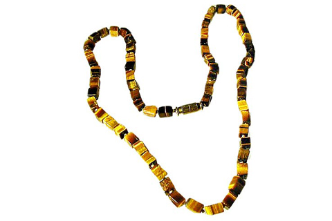 Design 484: brown tiger eye simple-strand necklaces
