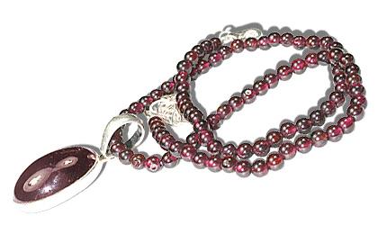 Design 487: red garnet pendant necklaces