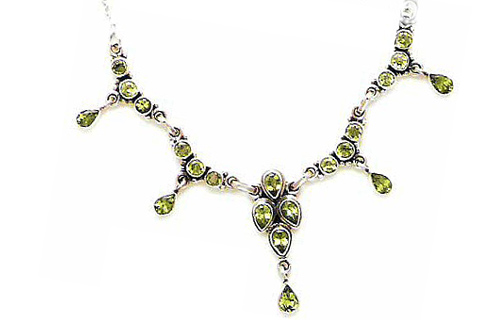Design 495: green peridot necklaces