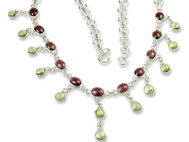 Design 497: green,red garnet contemporary necklaces