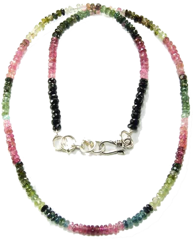 Design 5081: multi-color tourmaline childrens, simple-strand necklaces