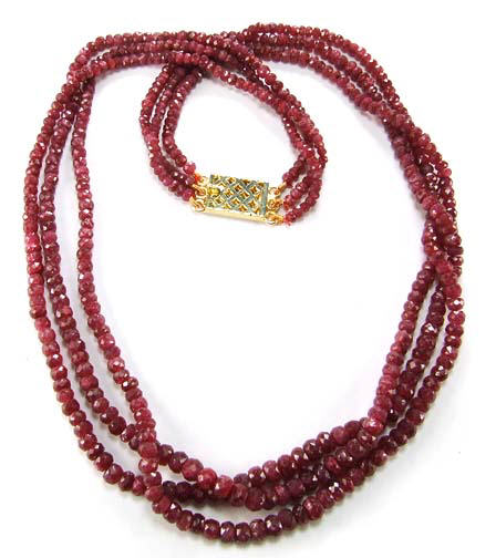 Design 5103: red ruby multistrand necklaces