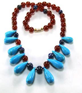 Design 5134: blue,turquoise,orange turquoise necklaces