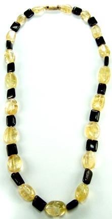 Design 5157: gray,yellow citrine mens, simple-strand necklaces