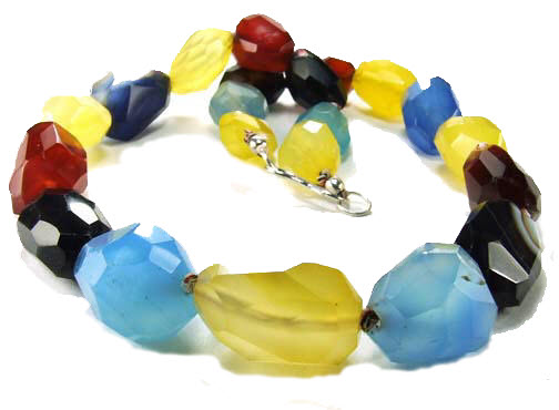 Design 5159: multi-color chalcedony chunky necklaces