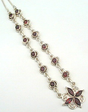 Design 525: red garnet flower necklaces