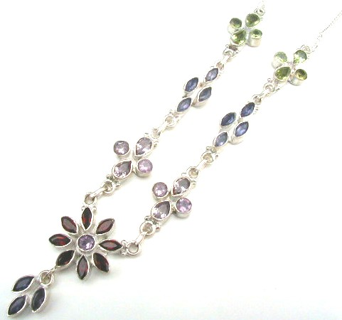 Design 528: green,purple,red garnet flower necklaces