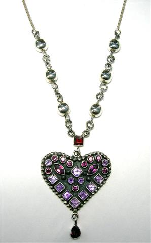 Design 5314: purple,red,pink amethyst heart necklaces
