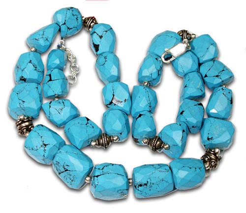 Design 5324: blue turquoise american-southwest, tumbled necklaces