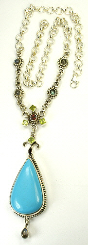 Design 5377: blue,green,pink turquoise drop, pendant necklaces