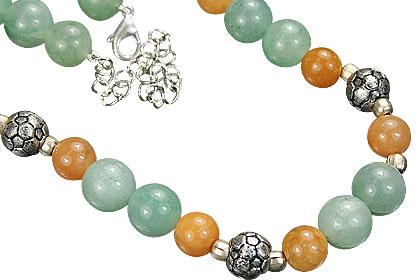 Design 5502: green,orange aventurine necklaces