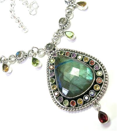 Design 5601: blue,green labradorite necklaces