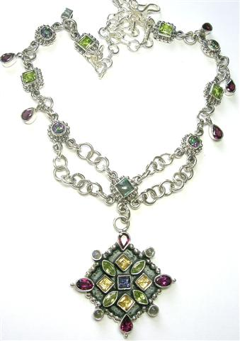 Design 5602: multi-color mystic quartz drop, multistrand necklaces