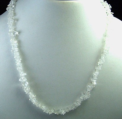 Design 5622: white crystal chipped necklaces