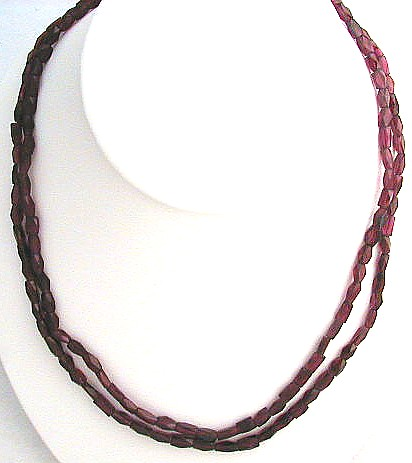 Design 563: red garnet multistrand necklaces